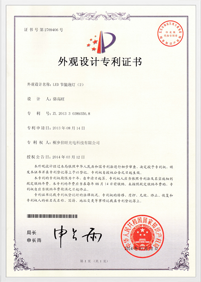 Muster -Patentzertifikat